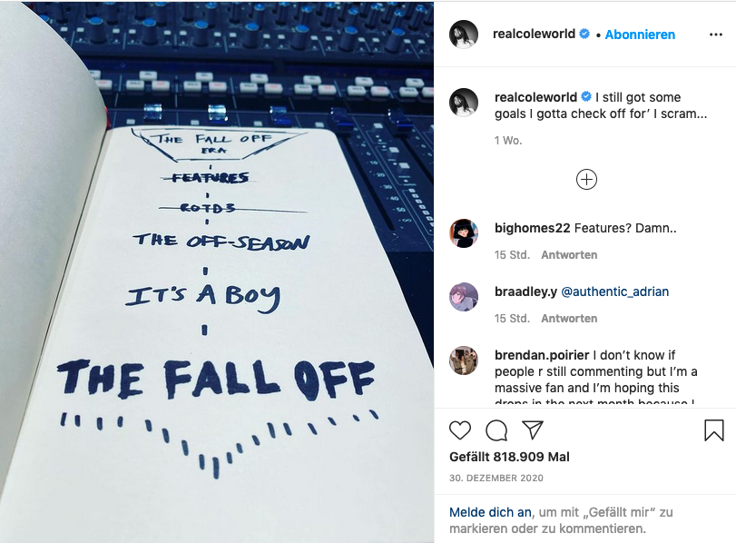 J. Cole The Fall Off Instagram Post 30. Dezember 2020