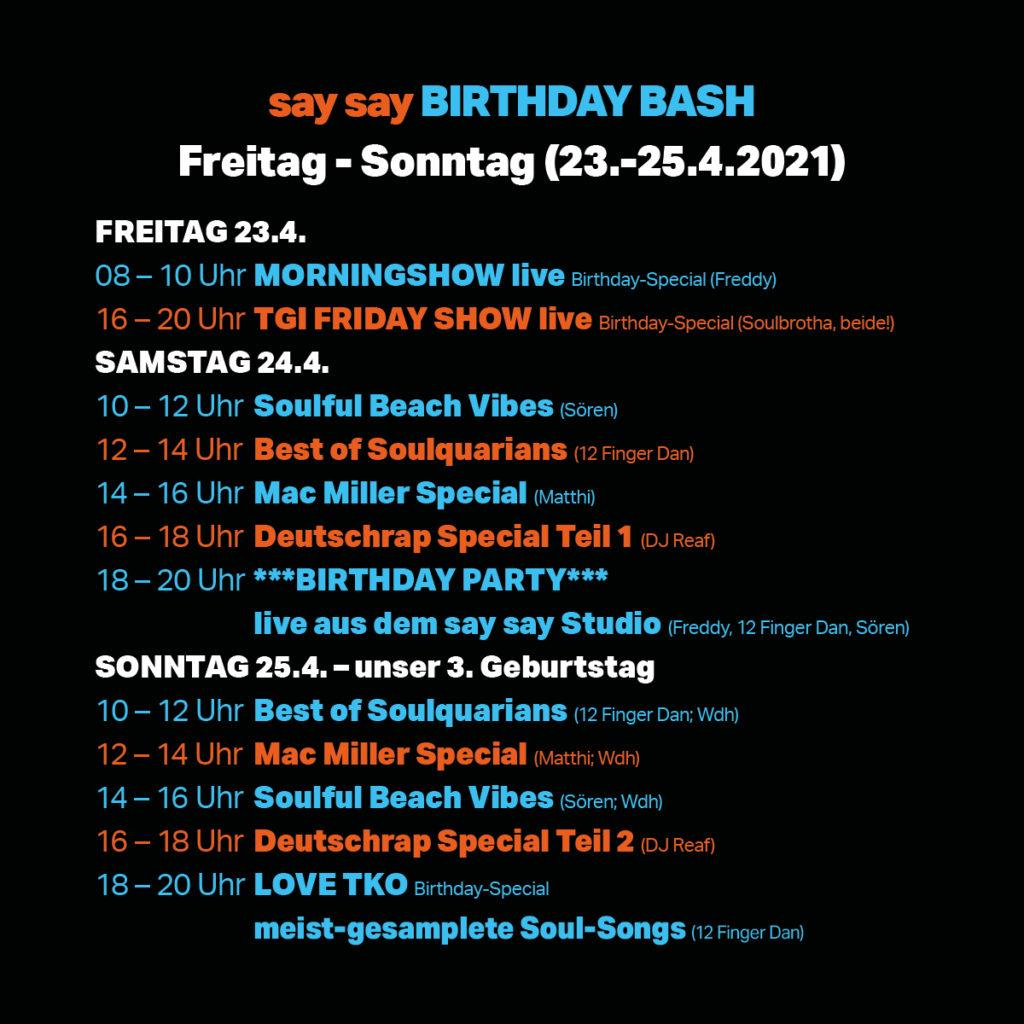 say say soulful hip-hop radio - 3. Geburtstag - Sonderprogramm