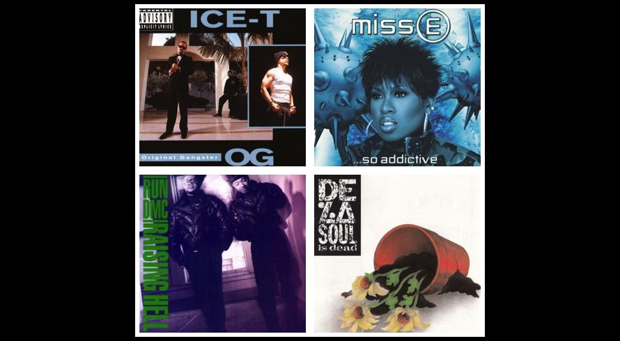 Run DMC Raising Hell, Ice-T Original Gangster, De La Soul De La Soul Is Dead, Missy Elliott Miss E So Addictive - Cover