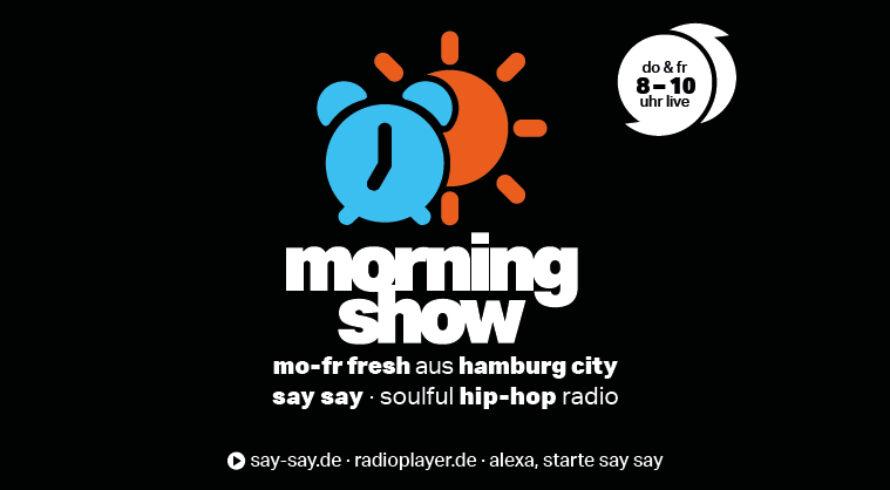 MORNINGSHOW say say soulful hip-hop radio - Logo negativ - Do, Fr live